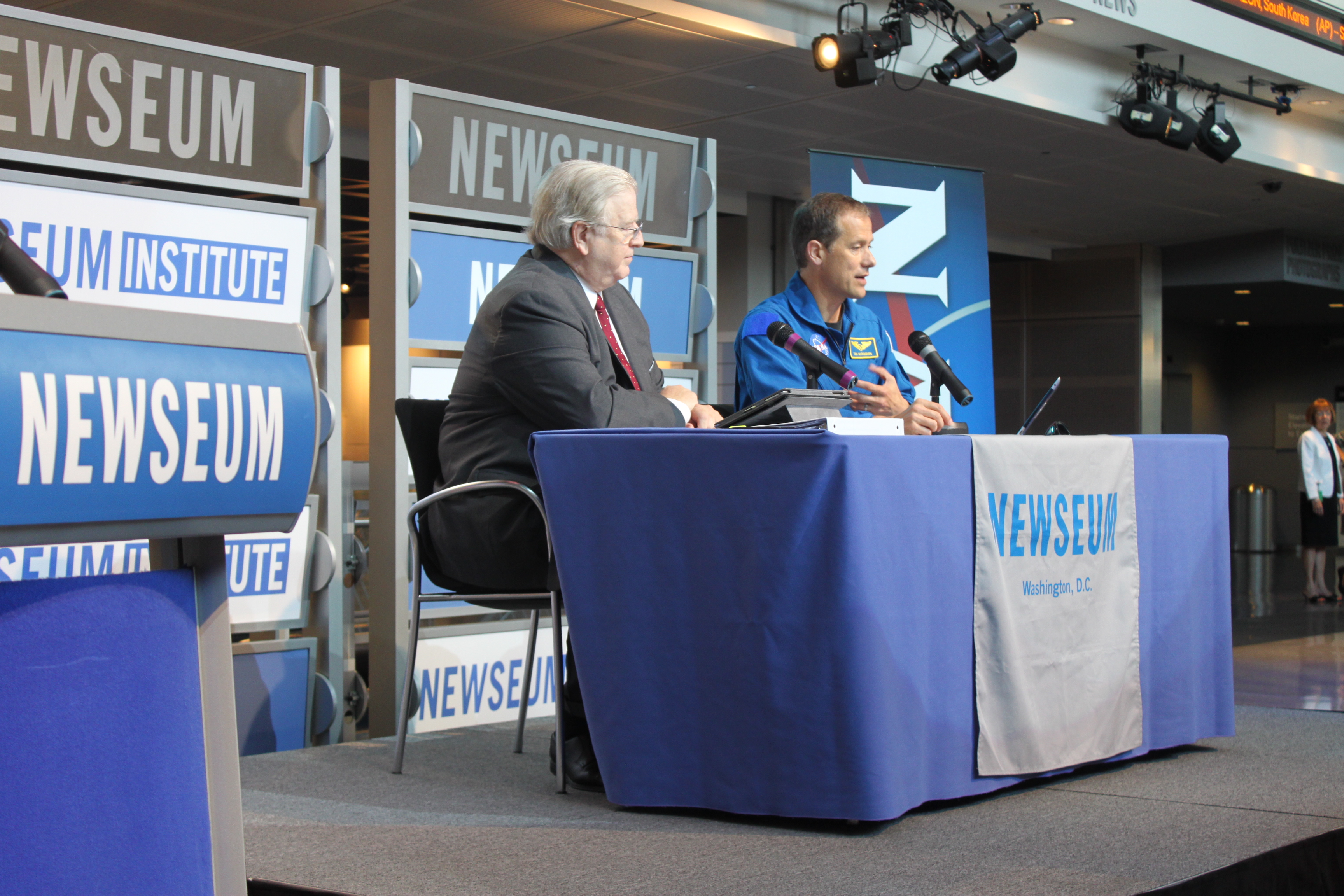 Mr. Gene Policinski (left), the Chief Operating Officer of the Newseum, directed Free Spirits in a televised Q&A with NASA astronaut Dr. Thomas Marshburn.