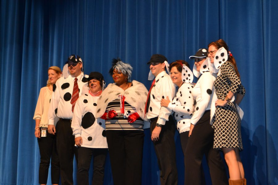 The+administrators+dress+up+as+the+101+Dalmatians%2C+with+Mrs.+Jacobs+as+Cruella+DeVille.++