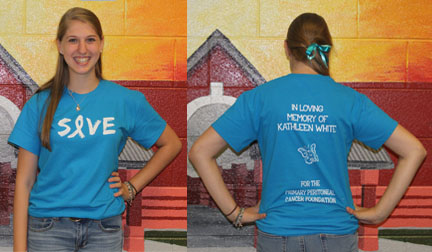 As part of her awareness campaign, senior Leah White and her family created a t-shirt honoring Mrs. White. Part of the proceeds from purchase of the shirt go towards PPC research. Photo by Meilan Solly.