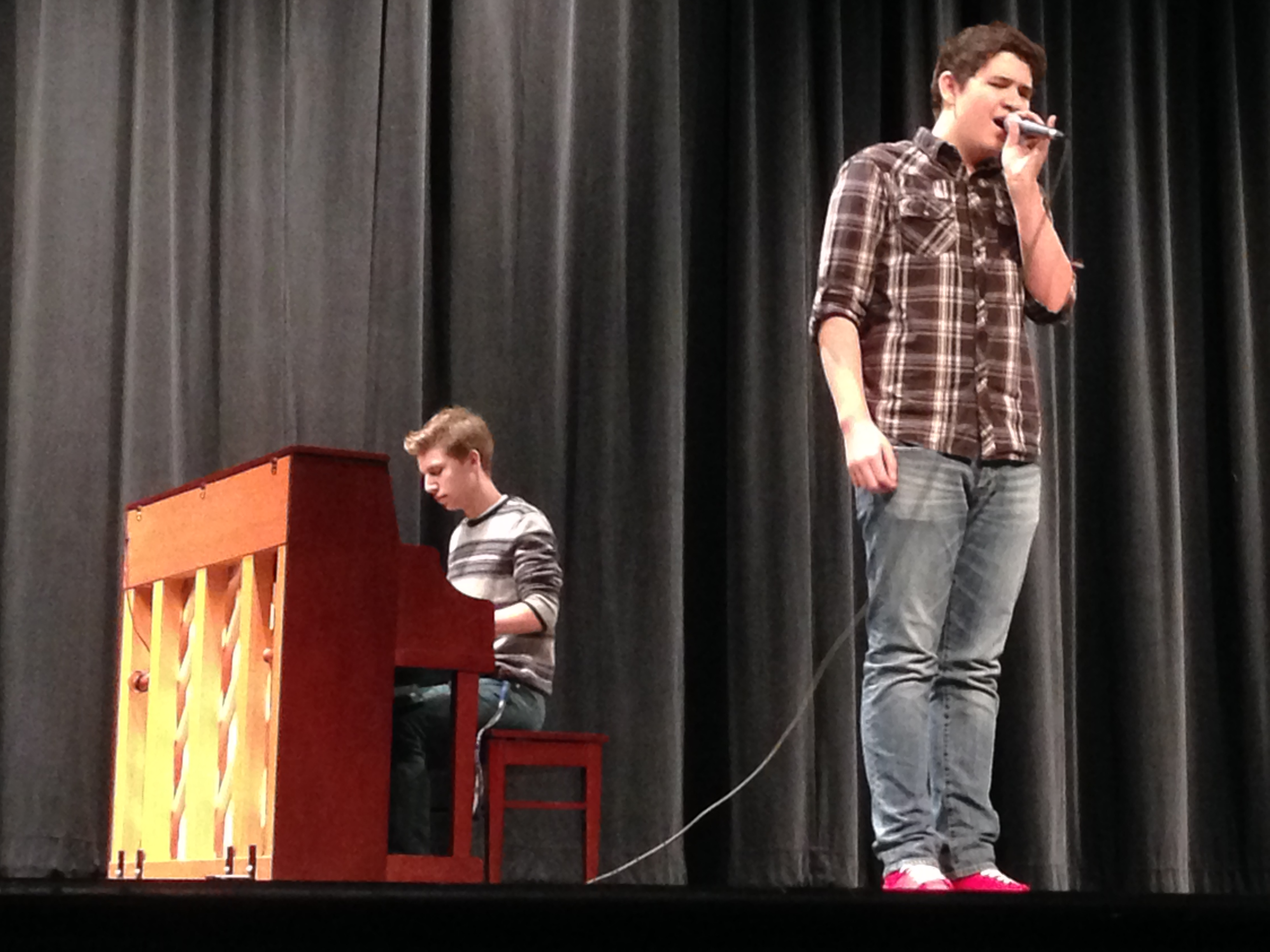 Sophomore Jamie Chica performs with junior Stephen Coakley. Photo credit: Claire Frank