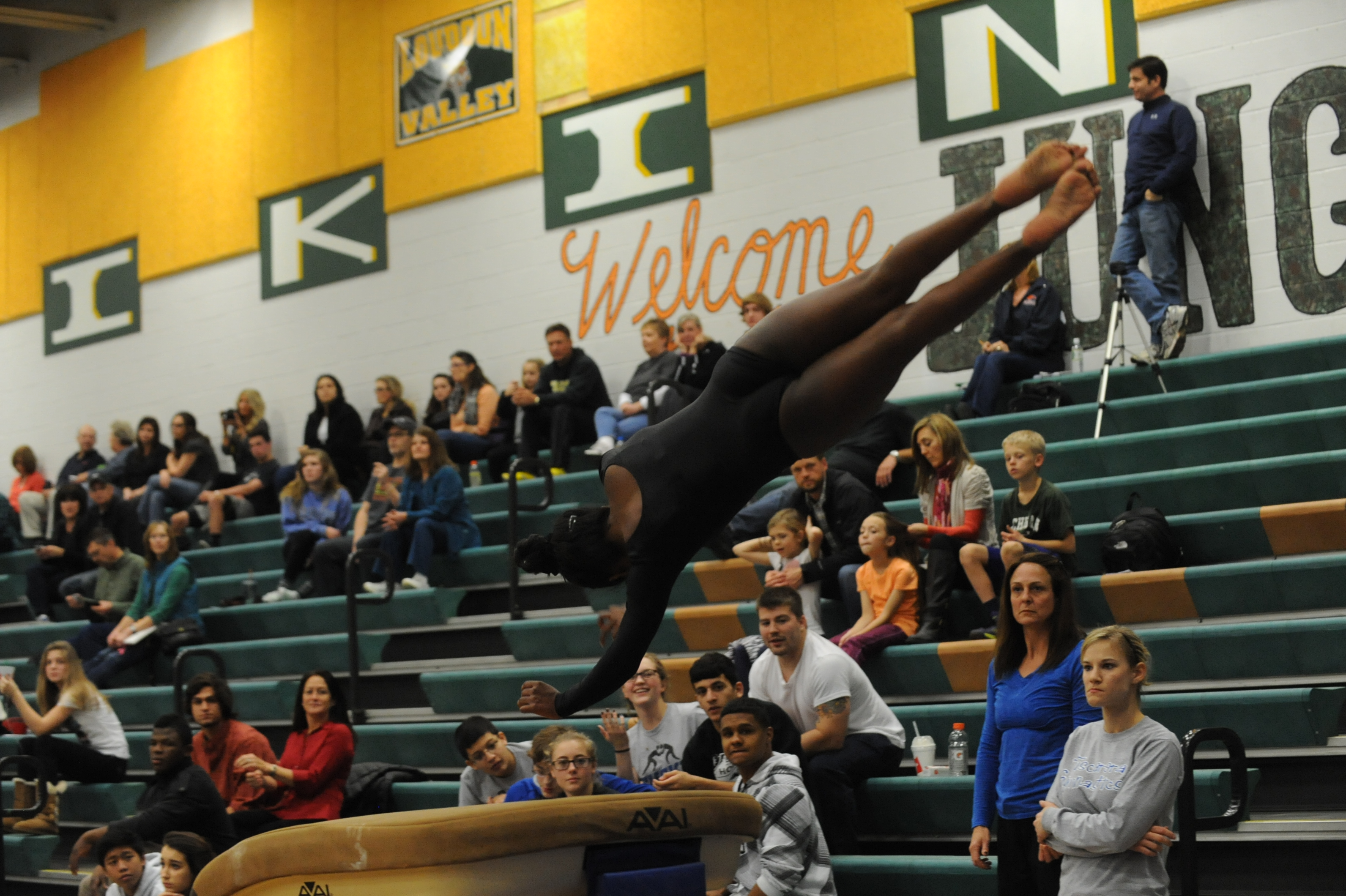 Freshman Julia Thoppil's performance on the vault earned her 2nd place in the event and helped her place 2nd all-around. Photo courtesy of Lifetouch