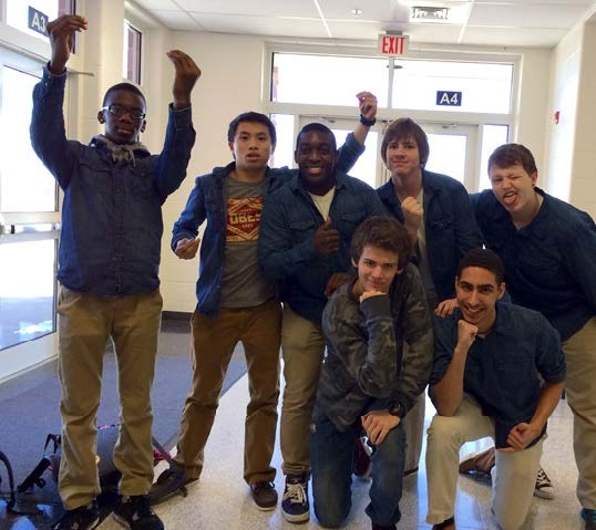 The Acafellaz, an all-male a capella group made up of Tuscarora students, pose outside the auditorium. Photo by Laura Chavez