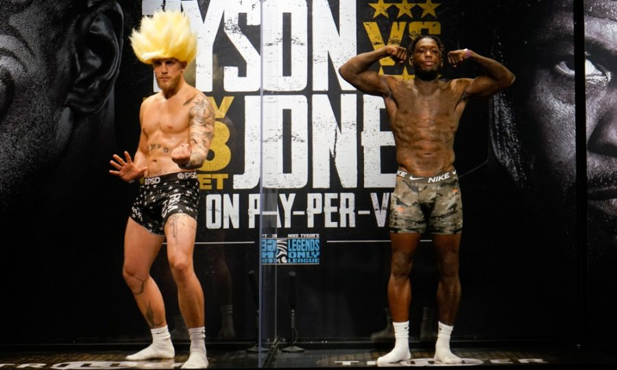 Nov 27, 2020; Los Angeles, CA, USA; Jake Paul (left) and Nate Robinson (right) weigh in for a cruiserweight boxing bout in Los Angeles.  Mandatory Credit: Lynn Millspaugh/Handout Photo via USA TODAY Sports